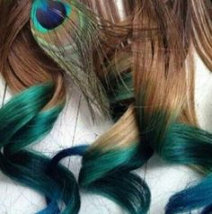 Peacock. Dip Dye Hair. ooh i want to try this