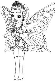 Princess Amber Butterfly Coloring Page Disney Coloring