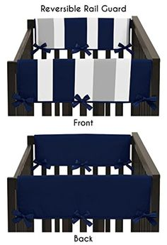 Baby Crib Side Rail Guard Covers for Boys Modern Navy Blue and Gray Stripe Bedding Collection -- Awesome products selected by Anna Churchill