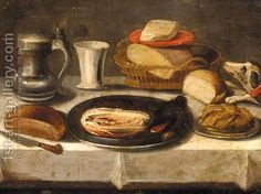 (after) Jacob Foppens Van Es:Still Life Of A Pewter Plate With A Jan Steen Jug, A Cup, A Basket Of Bread, And A Dog On A Table