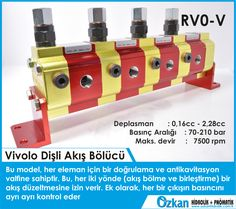 Vivolo Flow Divider Group 0  RV0-V In this version the flow divider has one phase correction and anticavitation valve for each element, this allow a flow correction in both direction (flow division and flow unification). In addition it can adjust the relief pressure to a different value for each element.  Displacements from 0.16 cm3 / revolution to 2.28 cm3/revolution. Maximum pressures up to 210 bar. Rotation speeds up to 7500 rpm.