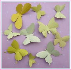 3D Wall Butterflies  10 Ivory Lemon Yellow Butterfly by BugsLoft, $18.00