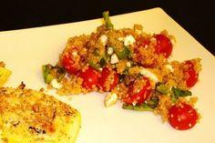 Summer Quinoa Salad with cherry tomatoes & feta Quinoa Salad Recipes, Healthy Recipes, Healthy Meals, Summer Squash, Recipe Search, Easy Cooking, Cherry Tomatoes, Feta, Stuffed Squash
