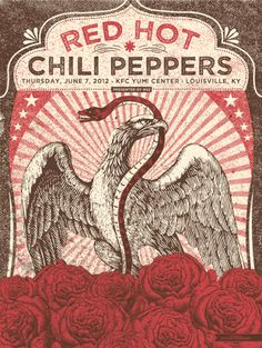Red Hot Chili Peppers concert poster, by Status Serigraph Tour Posters, Band Posters, Chad Smith, Art Hippie, Concert Rock, Vintage Music Posters, Retro Posters, Rock And Roll, John Frusciante