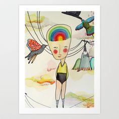 une vie dans la tête Art Print by sylvie demers - $15.00