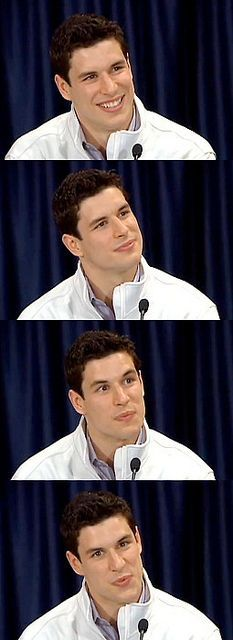 Crosby demonstrating his ability to feign interest in whatever drivel the media is asking him for the billionth time.