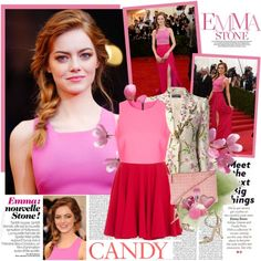 1439. Emma Stone by chocolatepumma on Polyvore featuring moda, Topshop, Dolce&Gabbana, Alexander McQueen, Dsquared2, Too Faced Cosmetics, Urban Decay, Guerlain, GALA and Disney