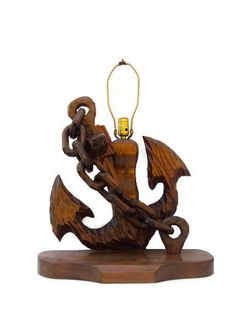 Vintage Nautical Anchor Lamp, Wooden Lamp, Carved Wood Anchor and Chain