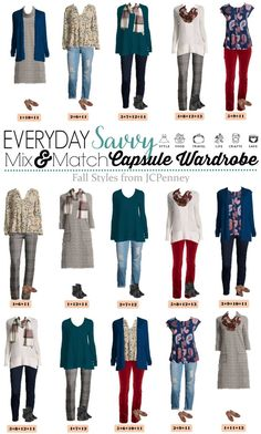 Here is a new JCPenney capsule wardrobe for Fall. It includes outfits for casual fall events and even dressier occasions. I love the cowlneck dress that could even be worn with leggings! The plaid pants and paisley shirt are so fun too. I love the rich j Business Casual Outfits, Casual Fall Outfits, Fall Winter Outfits, Cute Outfits, Easy Outfits, Stylish Outfits, Capsule Wardrobe Mom, Capsule Outfits, Fashion Capsule