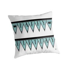 HAPPY BIRTHDAY / Throw Pillow / Manhattan 1920S Deco Blues Banner by Cecely Bloom
