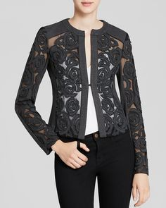 I love this black lace jacket Nanette Lepore Jacket - Protagonist Floral Embroidered Ponte~ Couture Dresses, Fashion Dresses, Black Lace Jacket, Sewing Blouses, Lace Blazer, Jackets For Women, Clothes For Women, Embroidery Fashion, Blazer Fashion
