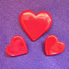 Vintage Flying Colors Ceramic Red Heart Pin and Earring Set