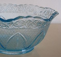 Blue Depression Glass Bowl by VandyCakes on Etsy, $8.00