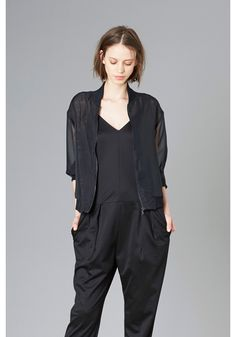 LE CIEL BLEU Sheer blouson and cut jump suit