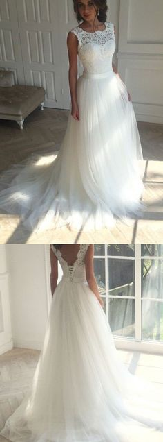 Long Princess Wedding Dresses, Ivory Sleeveless With Applique Sweep Train Wedding Dresses #weddingdress