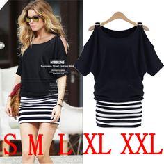 2014 new fashion summer women sexy striped dresses O-neck short sleeve dress mini dress plus size free shipping US $8.99