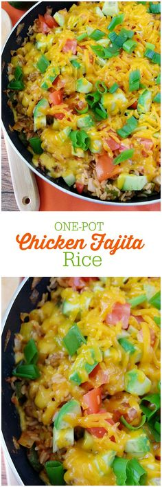 Get kids cooking with this easy One-Pot Chicken Fajita Rice recipe! It's filled with veggies, avocado, cheese, ground chicken and rice.