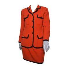 Chanel Boutique Orange and Black Skirt Suit