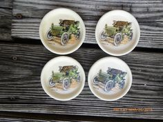Vintage Set 4 Coasters /Plates/Cup Holder Hol Hyalyn Porcelain Cadillac 1904 Car