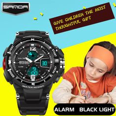 New SANDA Brand Children Watch Outdoor Sport Watches For Kids Boy Girls LED Digital Alarm Waterproof Wristwatch Children Watches