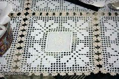Crochet Edging Patterns, Crochet Squares, Crochet Tablecloth, Crochet Home, Christmas Crafts, My Favorite Things, Knitting, Lace, Handmade