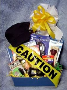 Police detective gift basket - for Cory's graduation. Girl Gift Baskets, Birthday Gift Baskets, Birthday Gifts, Homemade Gifts, Diy Gifts, Over The Hill Gifts, Graduation Party Decor, Graduation Ideas, Kids Police
