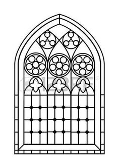A Gothic Style stained glass window in black and white. - A Gothic Style stained glass window in black and white. Outline drawing colouring activity page. Medieval Stained Glass, Stained Glass Angel, Faux Stained Glass, Stained Glass Patterns, Stained Glass Windows, Window Glass, Broken Glass Art, Sea Glass Art, Glass Wall Art