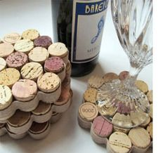 Use a blob of hot glue to create a freestyle cork trivet that is wrapped with a burlap or canvas ribbon.  Use a sharp craft knife to cut your wine corks into half sections.
