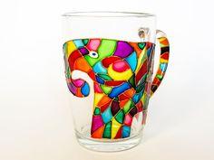Elephant Coffee Mug, Mosaic Cup, Hand Painted Mug