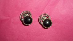 Vintage Onyx Cabachon Silver Tone Clip Earrings  #Unbranded #Clip