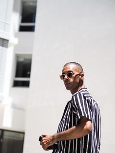 Mens Fashion Style & Outfit inspo by Blogger MR TURNER. Striped ANNEX Shirt from Bondi featuring Sunday Somewhere sunglasses. Menswear