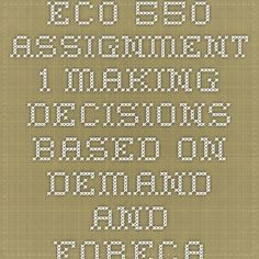 ECO 550 Assignment 1 Making Decisions Based on Demand and Forecasting