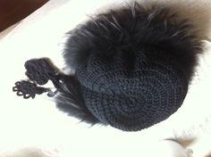 Crochet hat with #recycled #fur collar. www.koslowsfurs.com