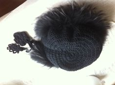 Crochet hat with recycled fur collar