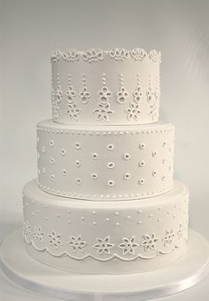 All White Eyelet Lace Cake White Wedding Cakes, Elegant Wedding Cakes, Elegant Cakes, White Cakes, Purple Wedding, Gold Wedding, Gorgeous Cakes, Pretty Cakes, Amazing Cakes