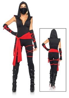 Sexy Deadly Ninja Costume - Halloween Secy Costume: Pick up a pair of sexy heeled boots and maybe some nunchucks to look even more menacing! #halloween #costume #women http://www.riocodes.com/halloweencostumes-coupons.html