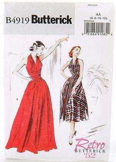 Butterick Retro '52 Halter Pinup Dress Sewing Pattern B4919 50s Style UNCUT