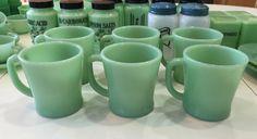6 Fire King Jadeite D Handled Coffee Mugs ~ Jadite Green Milk Glass Cups ~ FKOW