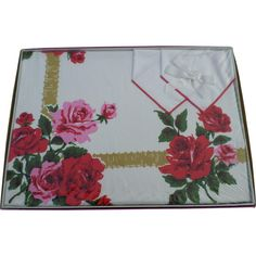 New Stevens Simtex Ribbon Rose Red Tablecloth Set from cheriescollectibletreasures on Ruby Lane