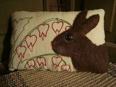 Rabbit On VIntage  Embroidered Quilt