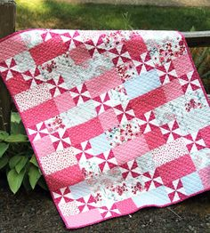 Flirt Pinwheel Quilt Pattern Could Be Considered Flirty. This pinwheel quilt pattern has pinwheels out of the ordinary. The quilt is so beautifully designed Quilt Baby, Baby Girl Quilts, Girls Quilts, Baby Quilts To Make, Patchwork Quilting, Scrappy Quilts, Easy Quilts, Small Quilts, Owl Quilts