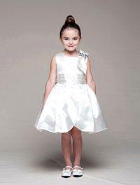 Flower Girl Dresses - Girls Dress Style 952- Sleeveless Satin Dress with One Shoulder Bow