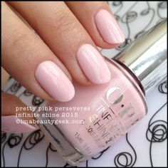 OPI Infinite Shine Pretty Pink Perseveres. Lots of OPI Infinite Shine swatches on click-thru to www.imabeautygeek.com