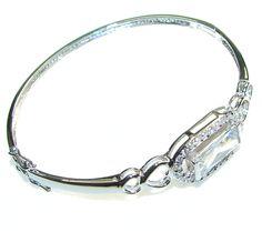 $102.15 Delicate!! White Topaz Sterling Silver Bracelet at www.SilverRushStyle.com #bracelet #handmade #jewelry #silver #topaz