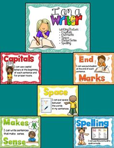 These is a set of super cute Writing Posters that you can display in your writing center to reminder your little one of the basic writing rules.