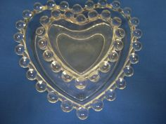Candlewick Glass Heart Dishes, One Large, One Small, Imperial Glass, Vintage Candlewick, Very Good Condition