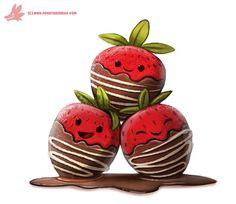 Daily Paint #1059. Chocolate Strawberries, Piper Thibodeau on ArtStation at https://www.artstation.com/artwork/q06ka