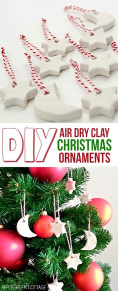 Air dry clay Christmas decorations are an easy Christmas crafting project both for kids and adults. Air dry clay is a versatile and an inexpensive material that can be used for nearly ANY crafting project, and is just perfect for making Christmas tree ornaments. Making homemade Christmas decorations is such a fun activity!