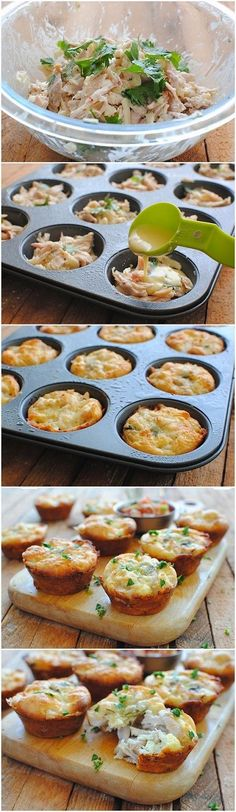 Mini Tex-Mex Chicken and Cheese Pies INGREDIENTS 1 lb) rotisserie chicken, shredded (skin and bones discarded) 1 cups shredded pepperjack cheese 1 oz) can Old El Paso™ diced green chile… Comida Tex Mex, Easy Snacks, Easy Meals, Tex Mex Chicken, Cheese Pies, Cheese Muffins, Food For Thought, Appetizer Recipes, Appetizers