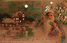 WEIHNACHTSMANN LILA MANTEL PUPPE HALT GEGEN LICHT HTL LITHO 1904 SELTEN !!! | eBay
